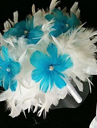 Romantic Blue Or Black Flower Feather Bridal Wedding Bouquet FP-504 (More Colors)