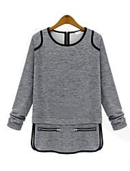 Women's European Style Loose Back Zipper T-shirt