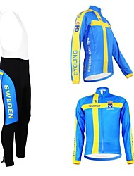 Kooplus Cycling Jersey with Bib Tights Women's Men's Unisex Long Sleeve Bike Jersey Bib Tights Clothing SuitsWaterproof Zipper Wearable