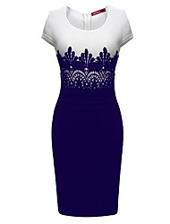Women's Lace Bodycon Midi Dress,Round Neck Short Sleeve