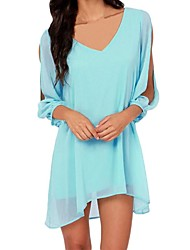 Women's Candy Color Deep V Neck Split Sleeves Chiffon Dress