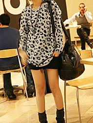 Mode runden Kragen Tops grau