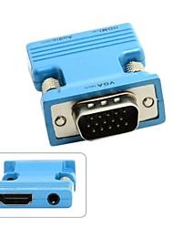 HDMI femelle vers VGA mâle&adaptateur de sortie audio pour projecteur pc portable macbook surveiller bleu / or