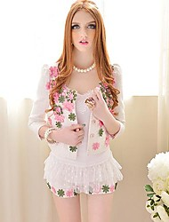 Women's Lace/Solid White Vest Sleeveless Lace