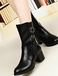 Beauty Gril  Combat Boots Pointed Toe Chunky Heel Ankle Boots