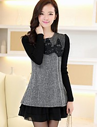 Women's Lace Gray Dress , Casual Crew Neck Long Sleeve