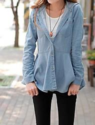 Women's Blue Hooded Outerwear Jacket Jean Shirt Blouse