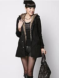 высокое качество волосатые внутри женской теплое пальто черного цвета