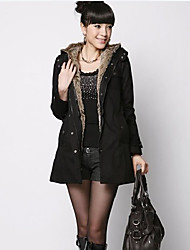 hoge kwaliteit harige binnenkant warme jas zwarte dame