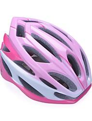 moda unisex y de alta transpirabilidad pc + epp casco de bicicleta (24vents) - rosa + rojo + plata