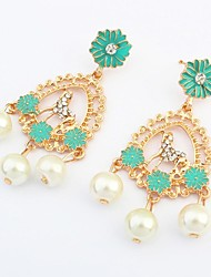 Women's Gorgeous Rhinestone Pony Florals Cluster Pearls Drops Stud Earrings