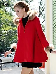 capuche zippée col design manteau à manches longues, plus la taille occasionnels manteau en cachemire lâche de mishow®women