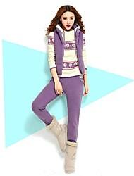 Women's New Flower Print Hood Sweater Suit (Hoodie & Vest & Pants) (More Colors)
