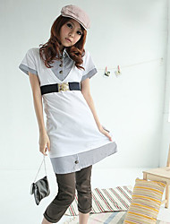 Fashionable Korea Stripe Buttons Fake Two Pieces Short Sleeve Dress White