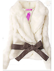 Tie Waist Rabbit Hair White Lady Coat