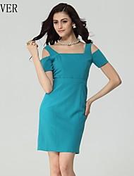 lifver® Frauen ein Wort kultivieren Kleid blau Party Kleider