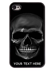 Personalized Phone Case - Black Skull Design Metal Case for iPhone 4/4S