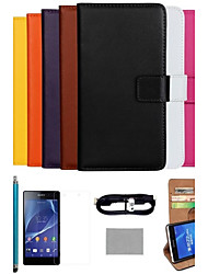 COCO FUN® Ultra Slim Solid Color Genuine Leather Case with Film,Cable and Stylus for Sony Z2 L35W(Assorted Colors)