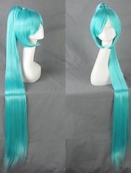 hatsune vocaloid miku cola de caballo azul ver. peluca cosplay