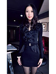 sexy collare garza profondo scollo a V occidentale vestito sottile nero