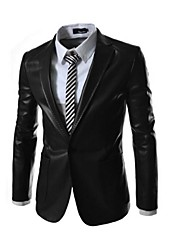 Men's Long Sleeve Slim PU Leather Jacket