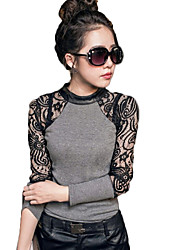 co co em torno do pescoço de Zhang mulheres cortar camisa de renda