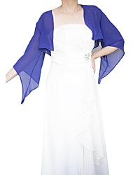 Wedding  Wraps Coats/Jackets 3/4-Length Sleeve Chiffon Royal Blue Wedding / Party/Evening Open Front