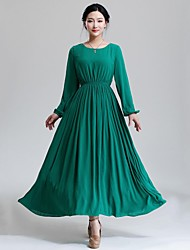 Women's Casual/Daily Swing Dress,Solid Round Neck Maxi Long Sleeve Green Spring / Fall / Winter
