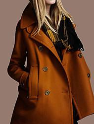 Women's Solid Color Tweed Overcoat