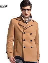 lesmart moda trespassado lapela casaco de lã dos homens