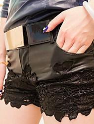 Jansa ™ kvinnors skarv spets pu läder kortbyxor
