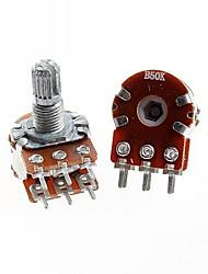 Duplex Double Union Potentiometer 6 Pins B50K Long Handle 15mm(5pcs)