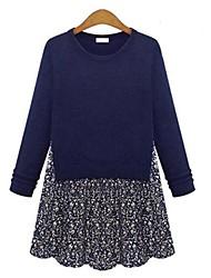 Damen Kleid - Übergrößen Leger Mini Baumwolle / Strickware