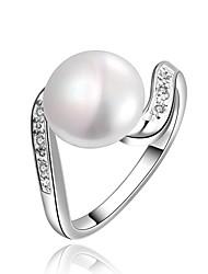 reine du parti rétro haut de gamme de la mode atmosphère brillante perle simple anneau