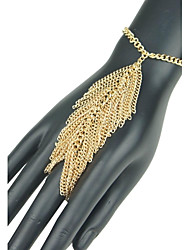 Women's European Leaf Shape Tassel Hand Chain Ring Bracelet