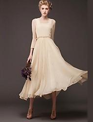 Women's Yellow/Beige Dress , Vintage/Lace/Party ¾ Sleeve