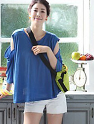 Fashionable Off-shoulder Loose Knitting Sweater Blue