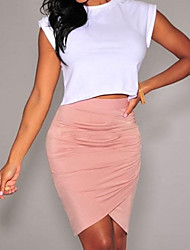 Women's Pink/Black/Green Skirt,Bodycon/Work Above Knee