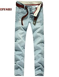 Men's Solid Casual Jeans,Denim Blue
