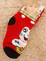 6pairs padrão sapo forma mais grossas de algodão meias infantis para 4-8 anos (cor colocação aleatória)