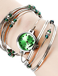 Personalized Fashionable Women's Watch Silver Steel with Beads Bracelet