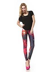 Women's Milky Way Pink Printed Polyester Leggings