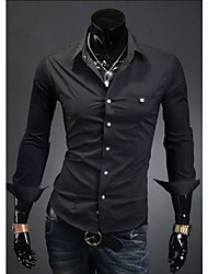 Men's Casual Shirts , Cotton Blend Long Sleeve Casual/Work