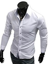 cuello solapa camisa vaina color sólido de los hombres