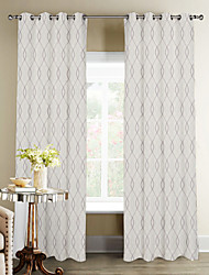 Modern Minimalist Overlattice Wave Curtain (Two Panels)