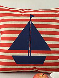 Sailing Boat Pattern Cotton/Linen Decorative Pillow Cover