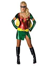 Costumes de Cosplay / Costume de Soirée Superhéros Fête / Célébration Déguisement Halloween Rouge / Vert MosaïqueManteau / Robe / Gants /