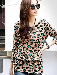 Women's Round Collar  Leopard Plus Size Long Sleeve  Long T-shirt