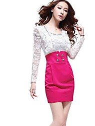 AIYI Puff Sleeve Lace Bodycon Dress
