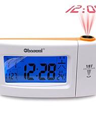 Voice Double Super Dimensional Projection Clock Calendar Mute Alarm Clock